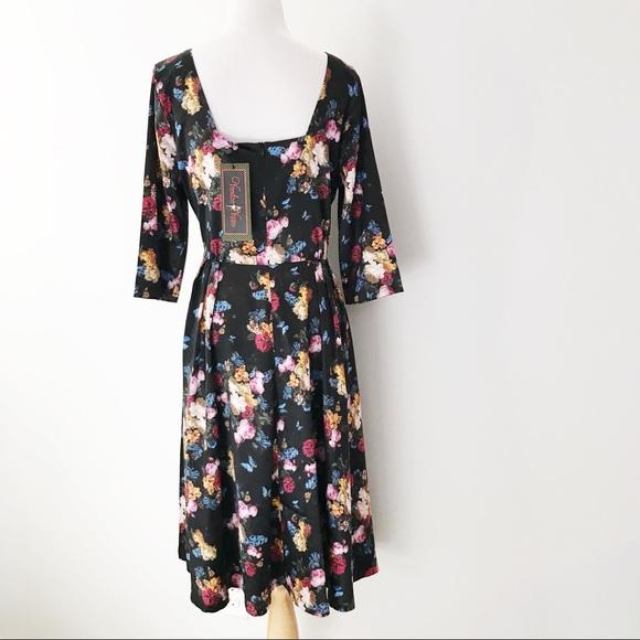 c6e8cd7b6f8e9 Voodoo Vixen Old Master Floral Print Dress • NWT